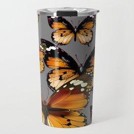 DECORATIVE BUTTERSCOTCH & TOFFEE BROWN BUTTERFLIES ART Travel Mug