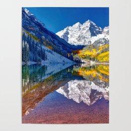 Fall Season at Maroon Bells Panorama Poster