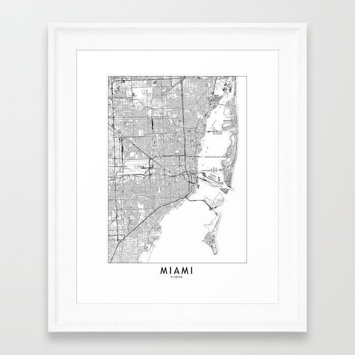 Miami White Map Framed Art Print