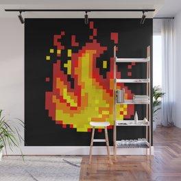Pixel fire Wall Mural