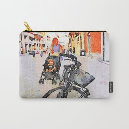 Teramo: parked bicycle and mother with stroll along the course Carry-All Pouch