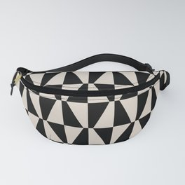 Mid Century Modern Geometric 313 Black and Linen Fanny Pack