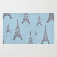 paris Area & Throw Rugs featuring Paris by sinonelineman