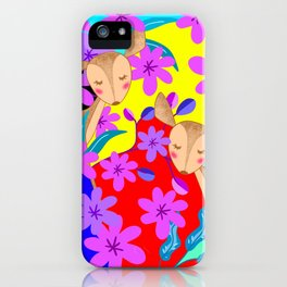 Cute wild sweet little baby deer fawns lost in the forest of delicate pink flowers colorful design iPhone Case