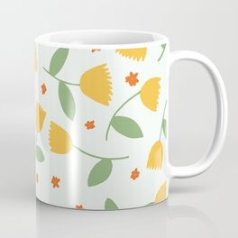 Yellow Floral Pattern Coffee Mug