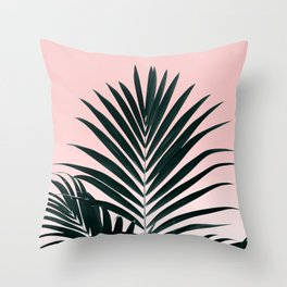 Tropical Green palm tree leaf blush pink gradient photography Throw Pillow