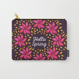 Hello Spring Watercolor Flowers Wreath Carry-All Pouch
