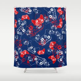 Video Game Red White & Blue 2 Shower Curtain