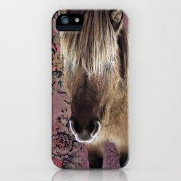 Icelandic pony with rosy posies iPhone Case