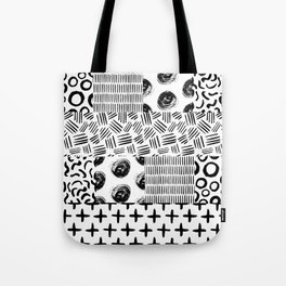 Modern black white hand drawn watercolor geometrical Tote Bag