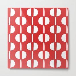 Modernist Geometric Pattern 442 Red Metal Print