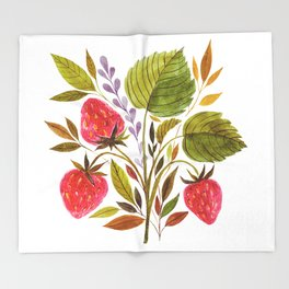 Early Summer Strawberries Are The Sweetest Throw Blanket