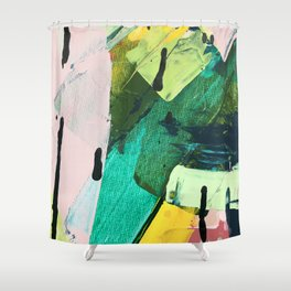 Hopeful[4] - a bright mixed media abstract piece Shower Curtain