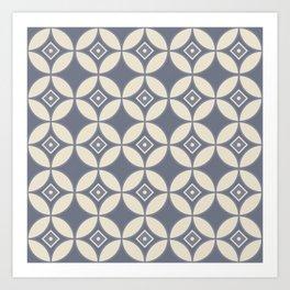 Kawung Blue (Batik) Art Print