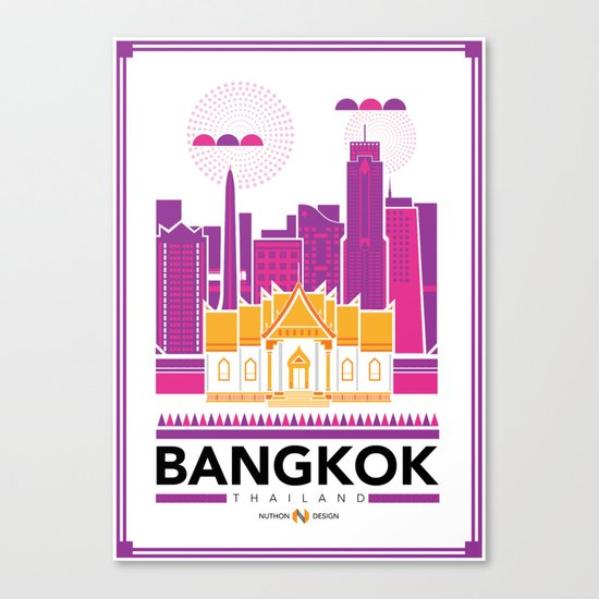 City Illustrations (Bangkok, Thailand) Canvas Print