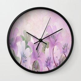 Lavendar Lilies Wall Clock