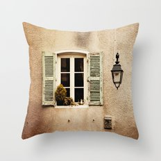Window with Shutters and Teapot Throw Pillow