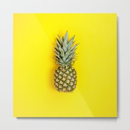 Pineapple on yellow background Metal Print