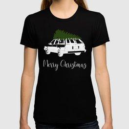 Merry Christams Station Wagon With Christmas Tree on Top T-shirt