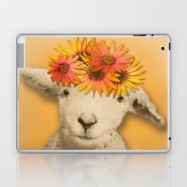 Daisies Sheep Girl Portrait, Mustard Yellow Texturized Background Laptop & iPad Skin