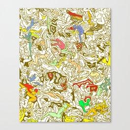 Kamasutra LOVE - Retro Yellow Canvas Print