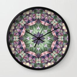 Fractal Ribbon Mandala in Purple, Green, Pink and Yellow Wall Clock