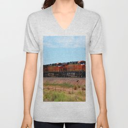 Orange BNSF Engines Unisex V-Neck