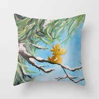 woodstock Throw Pillows featuring Winter Woodstock by artmonkeyworld