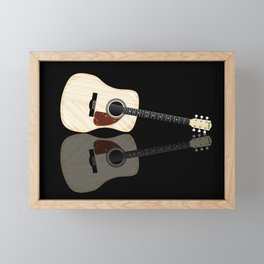 Pale Acoustic Guitar Reflection Framed Mini Art Print