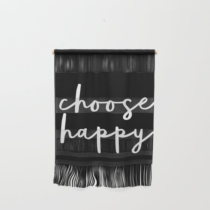 Choose Happy black and white contemporary minimalism typography design home  wall decor bedroom Wall Hanging by themotivatedtype