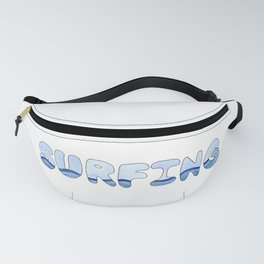 Surfing Bubble Letter Design in Watercolor Fanny Pack