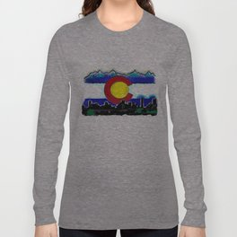 Denver Colorado artistic skyline art Long Sleeve T-shirt