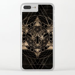 Deer in Sacred Geometry Composition - Black and Gold Clear iPhone Case