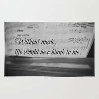 jane austen Area & Throw Rugs featuring Music Jane Austen by KimberosePhotography