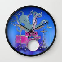 drums Wall Clocks featuring Octopus Playing Drums - Blue by Ornaart