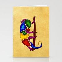 chameleon Stationery Cards featuring Chameleon by Aleksandra Mikolajczak