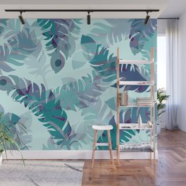 Feather turquoise pattern design Wall Mural