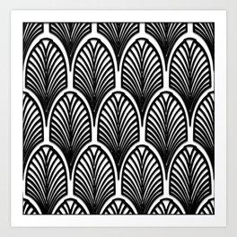 Art deco,Black and white pattern, vintage,nouveau,chic and elegant, belle époque,fan pattern Art Print