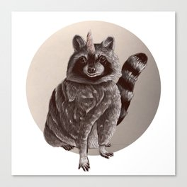 raccoonicorn // sepia raccoon unicorn Canvas Print