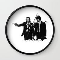 pulp fiction Wall Clocks featuring Pulp Fiction  by OnaVonVerdoux