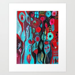 Flowers and owl Art Print
