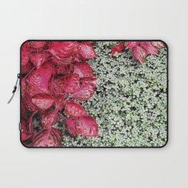 Pink Leaves on Green Carpet Laptop Sleeve