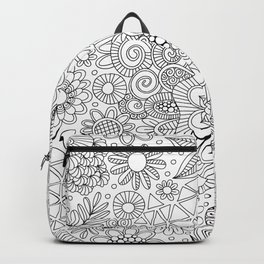 White Doodle Pattern Backpack