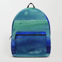 Abstract Blue Horizontal Stripes Watercolor Texture Backpack