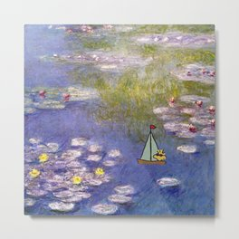 Snoopy meets Monet Metal Print