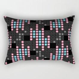 BRIXHAM, RETRO SQUARES: PINK and BLUE on BLACK Rectangular Pillow
