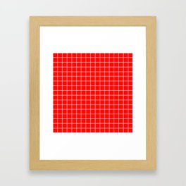 Candy apple red - red color - White Lines Grid Pattern Framed Art Print