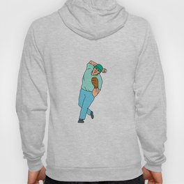 Baseball Player Pitcher Throwing Motion Cartoon Hoody