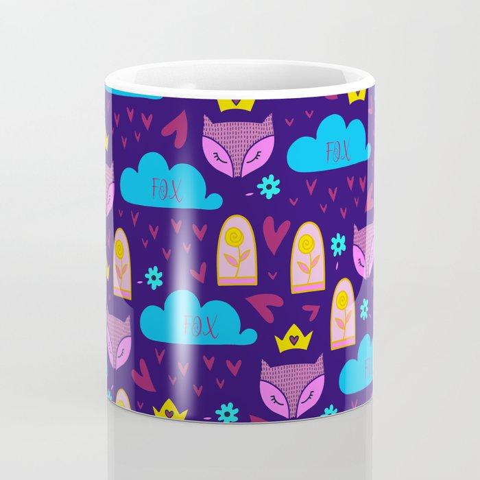 Whimsical fox rain and hearts abstract pattern Coffee Mug