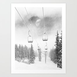 Chairlift Moon Break // Riding the Mountain at Copper Colorado Luna Sky Peeking Foggy Clouds Art Print